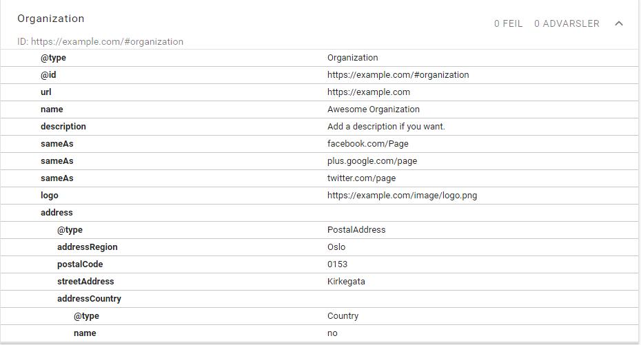 Full JSON-LD schema.org/Organization markup
