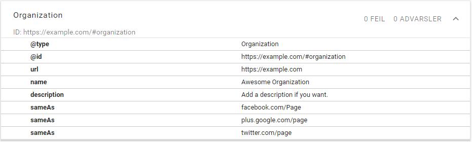Minimal JSON-LD schema.org/Organization markup