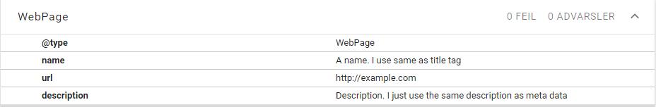 Minimal JSON-LD schema.org/WebPage markup