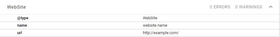 Minimal JSON-LD schema.org/WebSite markup